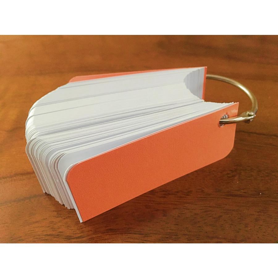 10 xấp flashcard trắng 3x8cm bo 2 góc tặng kèm khoen + bìa cứng cao cấp học ngoại ngữ