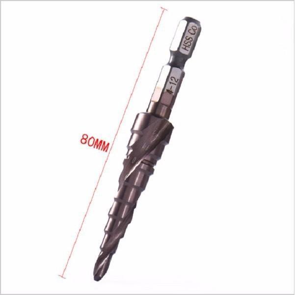 Mũi khoan bước tháp HSS M35 cỡ 4 - 12mm đa năng,khoan sắt,thép,inox