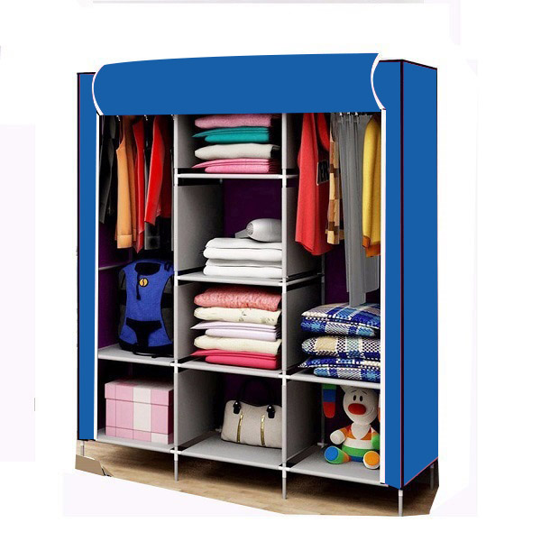Tủ vải quần áo 3 buồng 8 ngăn, khách được chọn màu,  khung sắt sơn tĩnh điện, vải không dệt( Hàng Việt Nam)