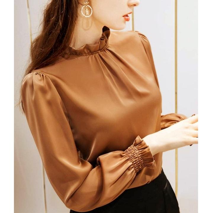 Áo Nữ Kiểu Cổ Nhún Tay Dài Bo Thun Vải Satin Lụa siêu đẹp