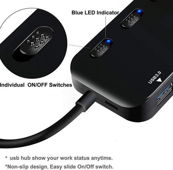 Hub Chia 4 Cổng USB 3.0 Ultra Slim siêu mỏng có công tắc bộ chia cổng USB 3.0