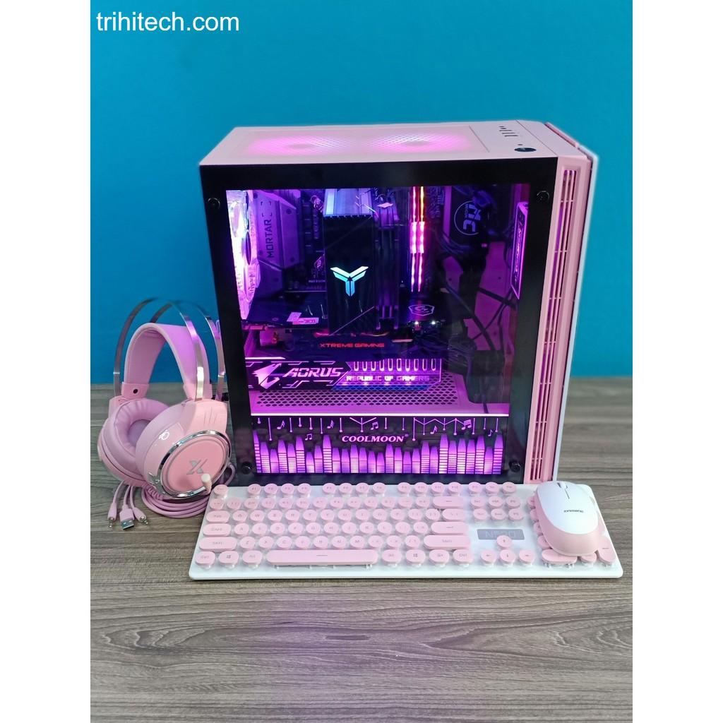 Vỏ case Xigmatek OMG Queen hồng đẹp Fan led