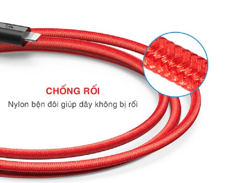 Dây cáp bọc dù chất lượng cao sạc nhanh Lightning Bagi IH150 dài 1.5m cho iphone/ipad/ipod - Hàng chính hãng