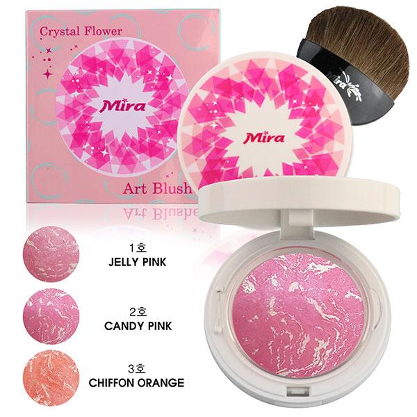 Phấn Má Hồng Mira Crystal Flower Art Blusher Hàn Quốc 10g No.1 Jelly Pink tặng kèm móc khóa