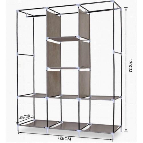Tủ vải khung hợp kim inox 3 buồng 8 ngăn mẫu mới 2019(Giao màu ngẫu nhiên)
