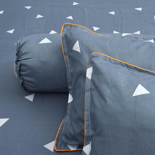Bộ Drap Cotton Poly Hàn Quốc 1,8 X 2m Tam giác - Xám
