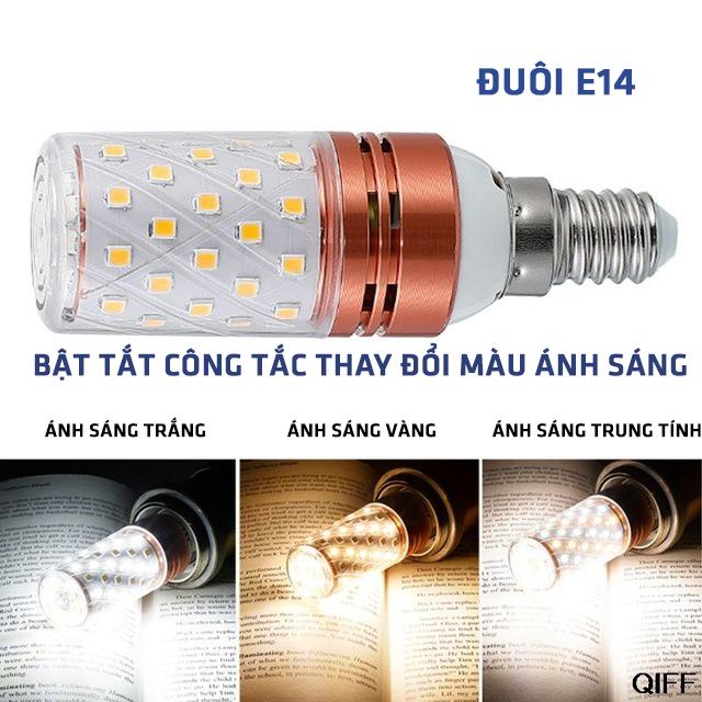 Bộ combo 2 bóng đèn Led quả bắp 3 chế độ sáng đuôi E14 công suất 6W