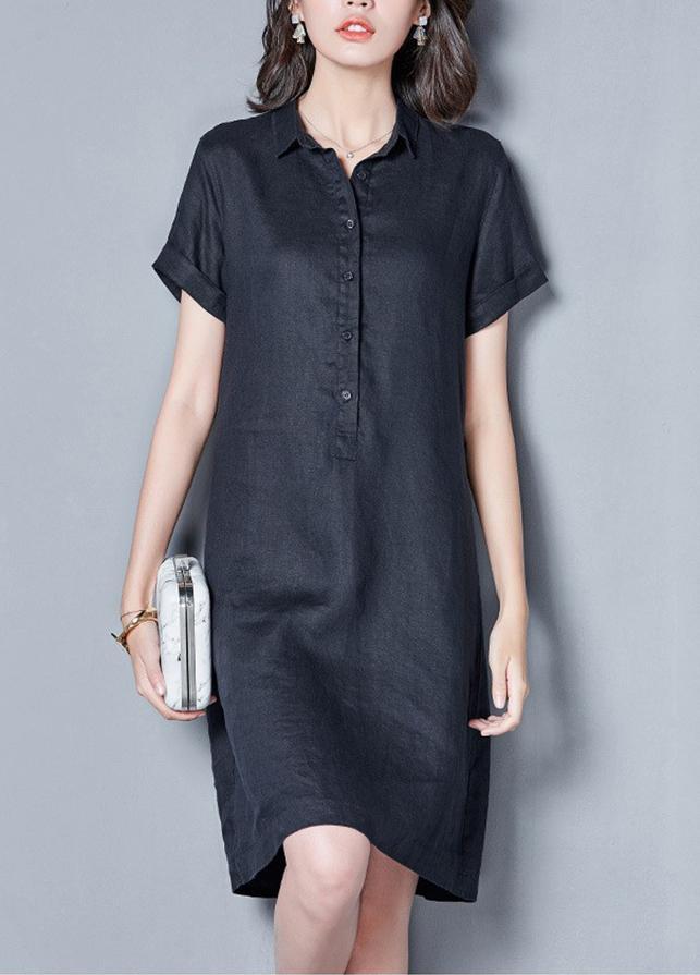 Đầm suông cổ đức bổ trụ ngắn tay - DS100 - Xanh đen - M