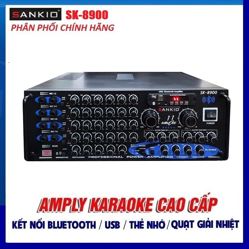 Amply Bluetooth 16 sò lớn Sankio SK-8900 - Ampli Karaoke Gia Đình sân khấu hội trường 8 cổng Micro, 2 quạt gió - Hàng chính hãng cao cấp