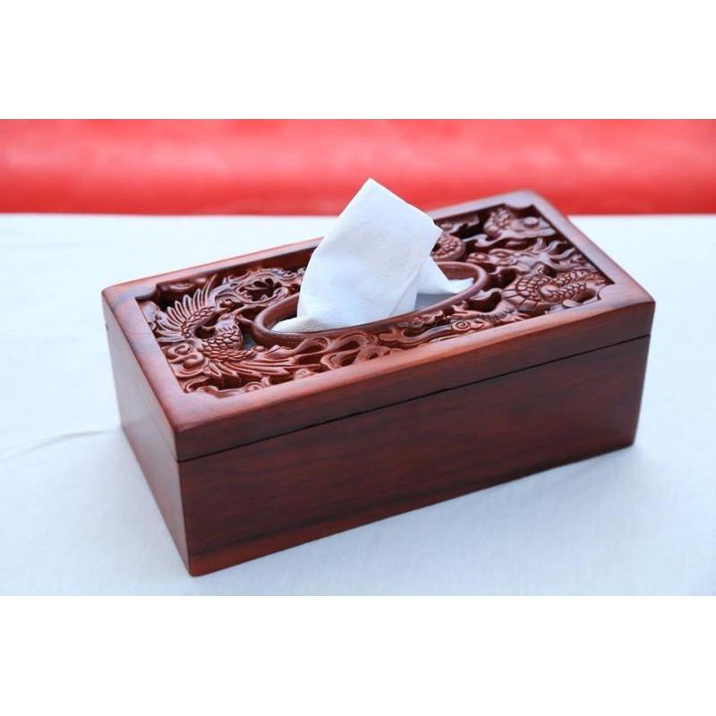 Hộp đựng khăn giấy bằng gỗ cao cấp trạm rồng phượng
