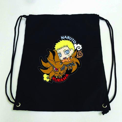 Balo dây rút đen in hình NARUTO anime chibi M2 túi rút đi học xinh xắn thời trang