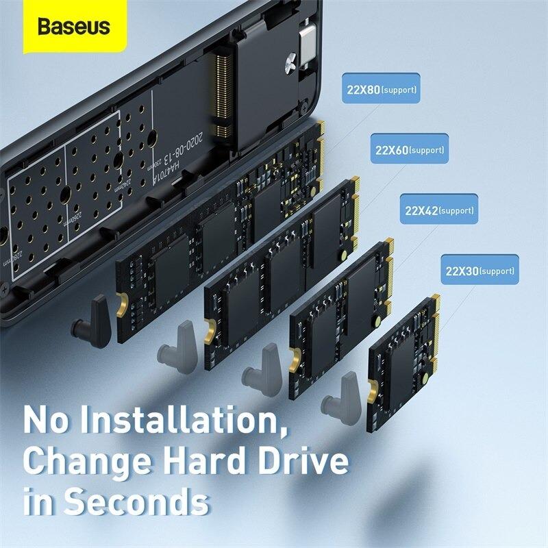 Thiết bị chuyển đổi ổ SSD thành ổ lưu trữ di động SSD Box Baseus Full Speed Series SSD Enclosure (Support 22x40/22x42/22x60/22x80, M.2 interface, SSD Box/ Enclosure) - Hàng chính hãng