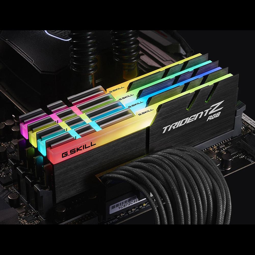 Ram PC G.SKILL Trident Z full length RGB DDR4 Kit 16GB Bus 3000 Black CL16 XMP (2x8GB) F4-3000C16D-16GTZR - Hàng Chính Hãng