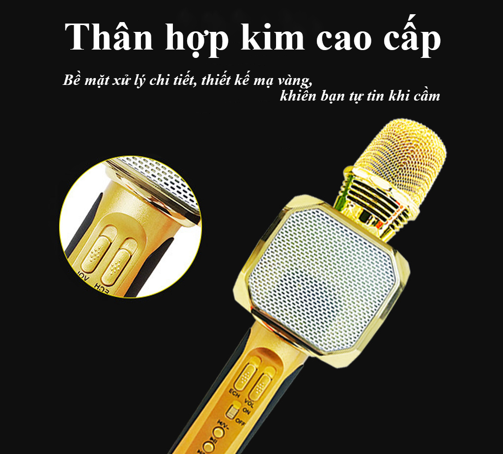 Micro kèm loa Bluetooth Karaoke SD-10, Âm thanh thuẩn , nhiều chế độ điều chỉnh