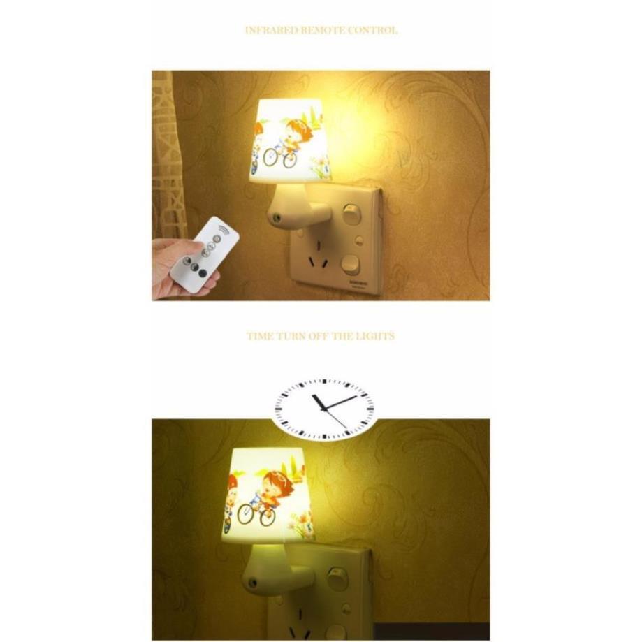 Đèn ngủ cảm ứng hình hoạt hình ngộ nghĩnh có điều khiển từ xa + Tặng 1 ngoáy tai có đèn cao cấp