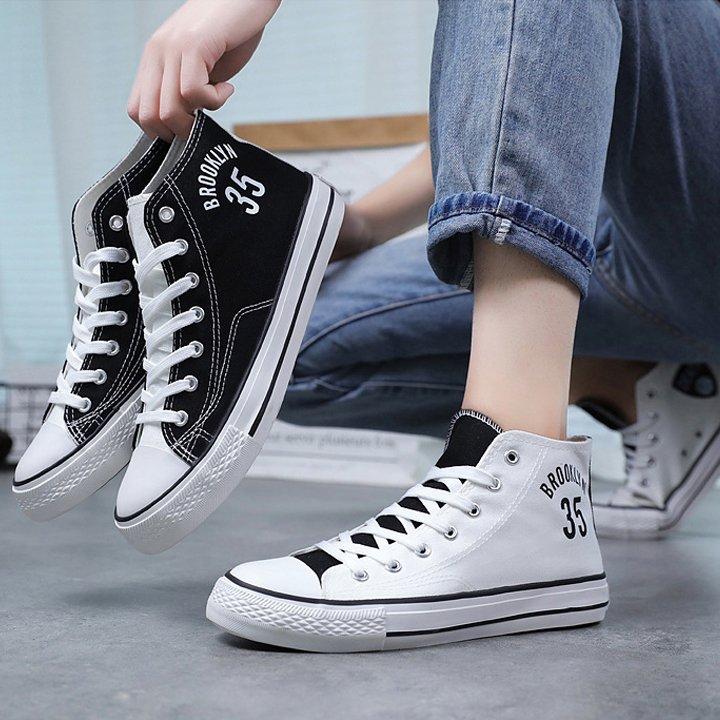 Giày nam, giày vải nam cổ cao, giày sneaker phong cách Hàn Quốc CV35