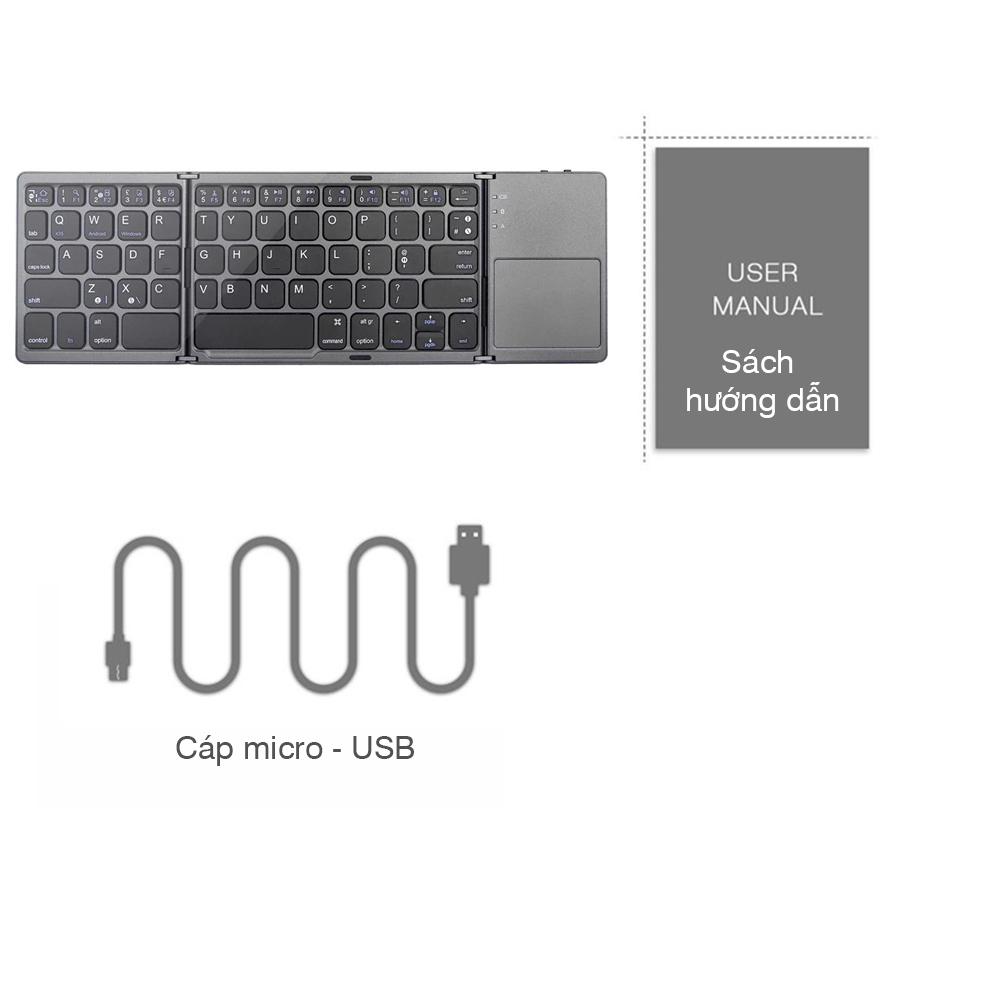 Bàn phím không dây Bluetooth A18 có trackpad gấp gọn cho điện thoại, máy tính bảng, tvbox - Hàng chính hãng + Tặng kèm hộp đựng tai nghe Carbon thuận tiện