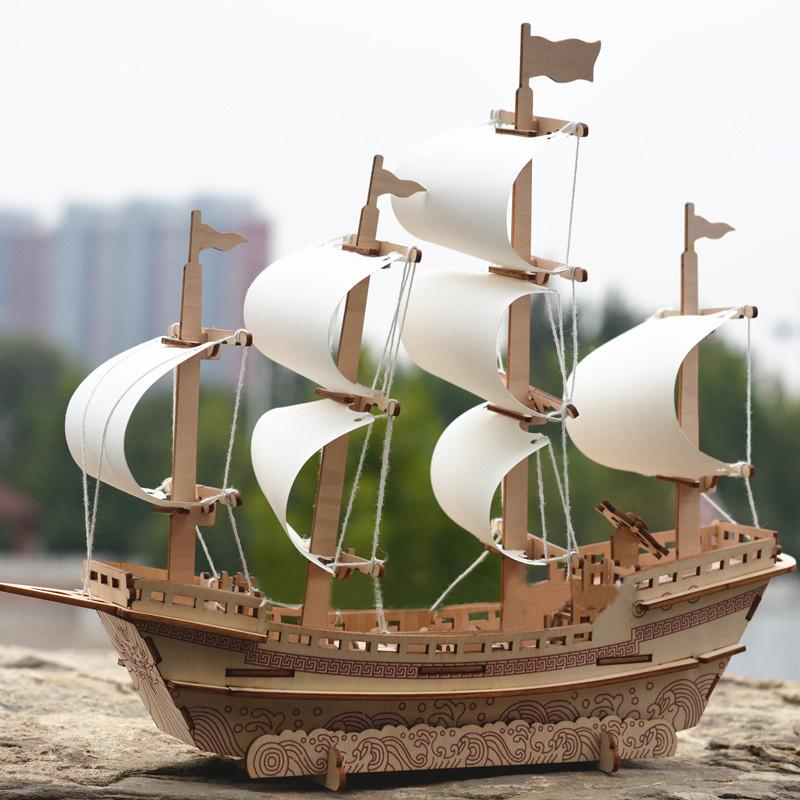 Đồ chơi lắp ráp gỗ 3D Mô hình Thuyền buồm Thương gia Laser ZY-63