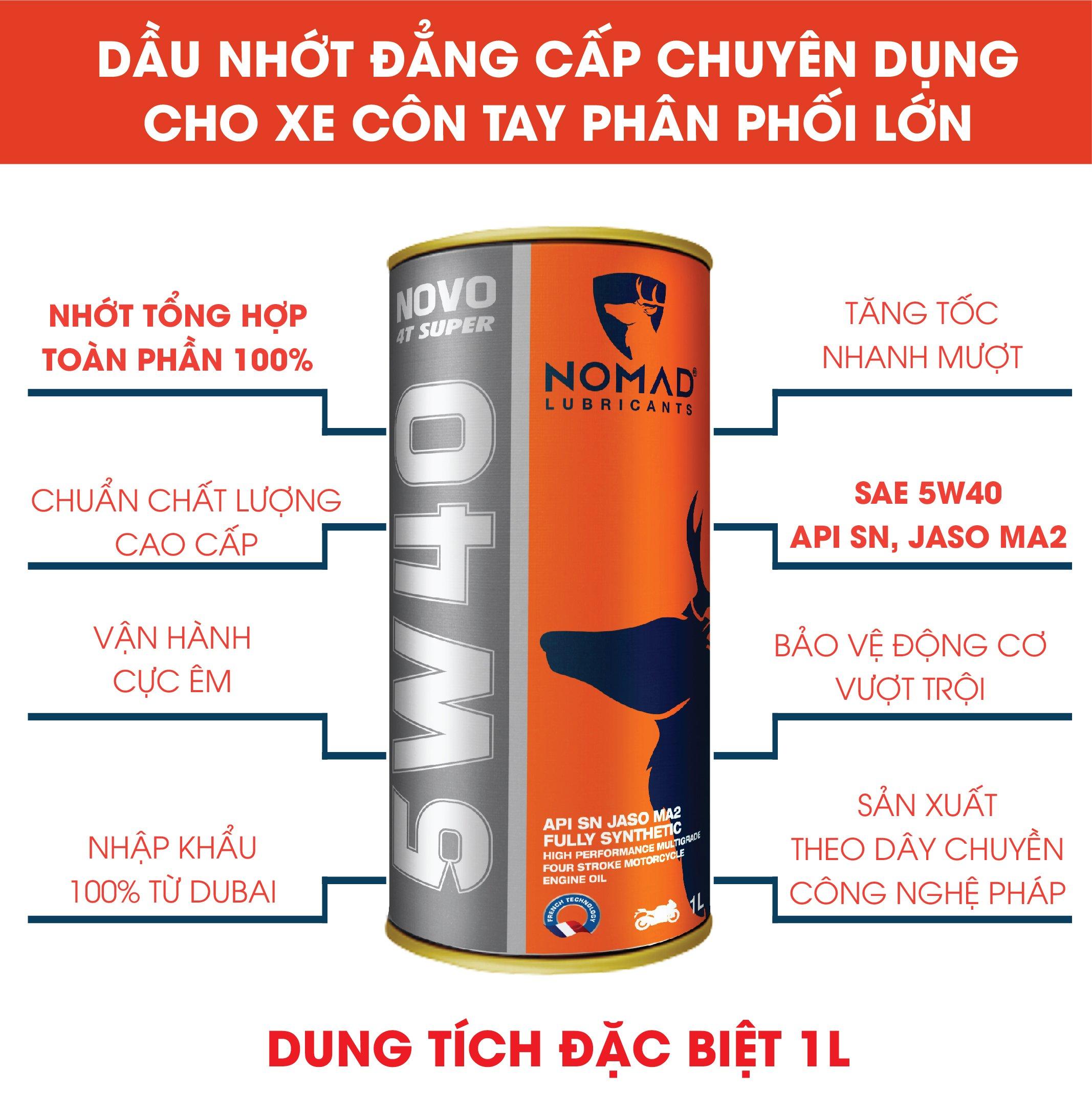 3 LON NHỚT NOMAD 1L - 1.1L - 1.3L DÀNH CHO XE CÔN TAY - TỔNG HỢP TOÀN PHẦN 100% SAE 5W40 - API SN - JASO MA2 TẶNG 1 CHAI NƯỚC MÁT NOMAD 1L PHA SẴN
