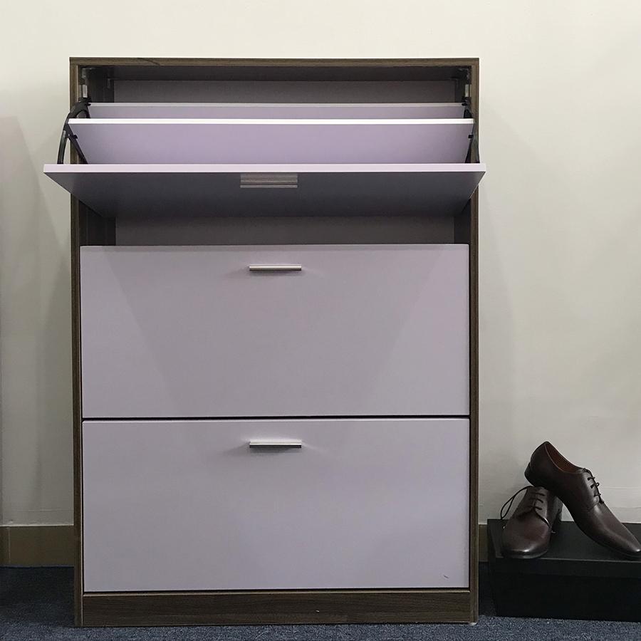 Tủ đựng giày thông minh (viền vân óc chó cánh trắng) - TG80-04