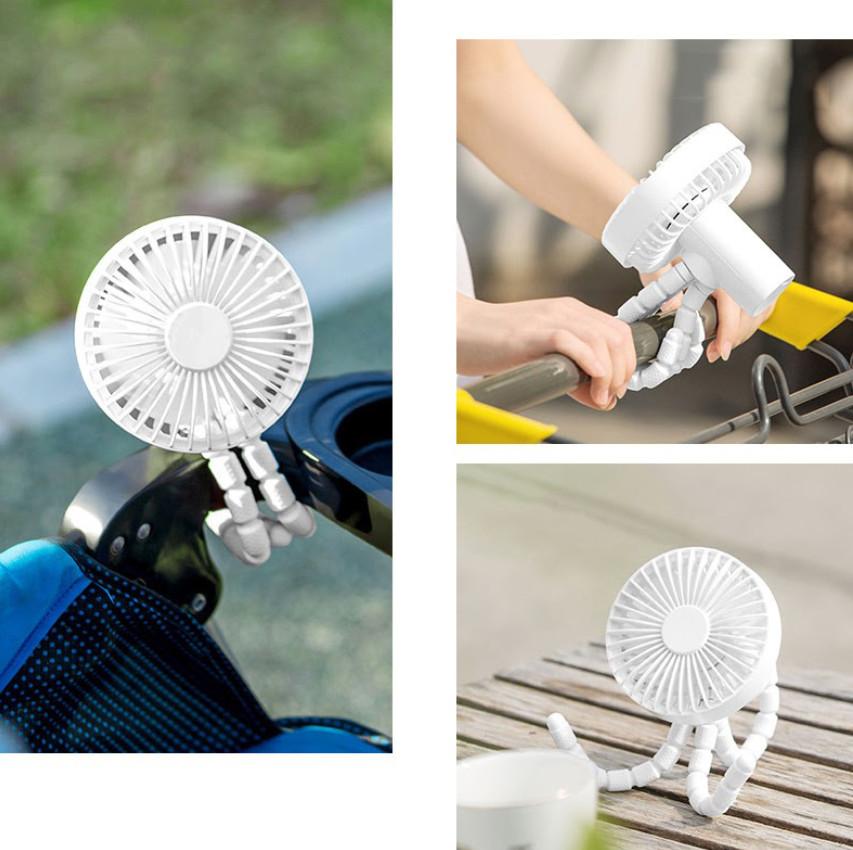 Quạt Cầm Tay Mini Tích Điện Chân Bạch Tuộc ZOLELE GXZ F1010 Dung Lượng Pin 1800mAh 3 Cấp Độ Hoạt Động Siêu Tiện Lợi - Hàng Nhập Khẩu