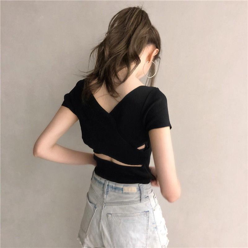 Áo croptop dáng ôm đan chéo sau lưng freesize 45-60kg