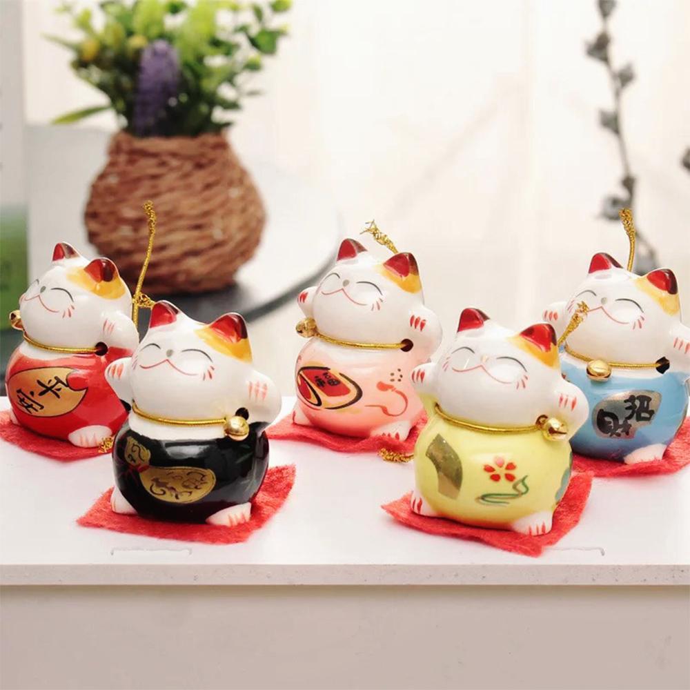 Bộ tượng ngũ mèo thần tài may mắn phong thủy trang trí ô tô nhà cửa