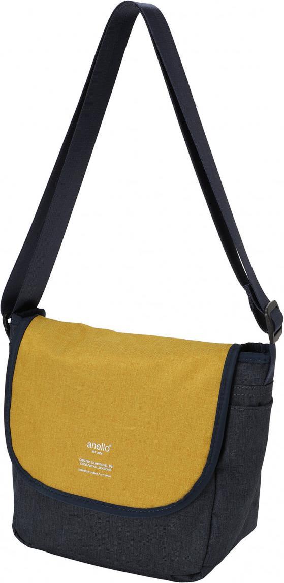 Túi đeo chéo ANELLO unisex vải polyester cỡ nhỏ AT-N0661 - Màu Xanh Navy phối Vàng