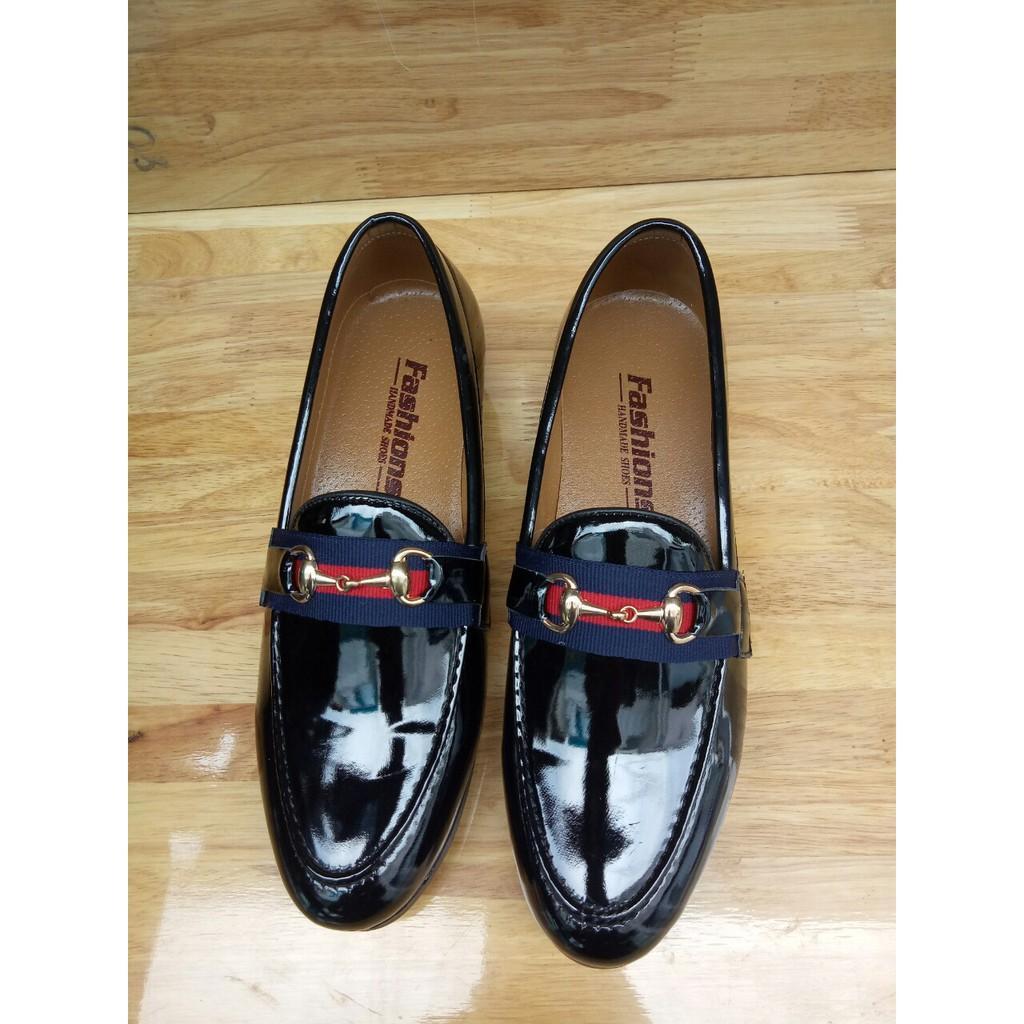 Giày tây đen bóng nam dây gusi xanh lá GC04