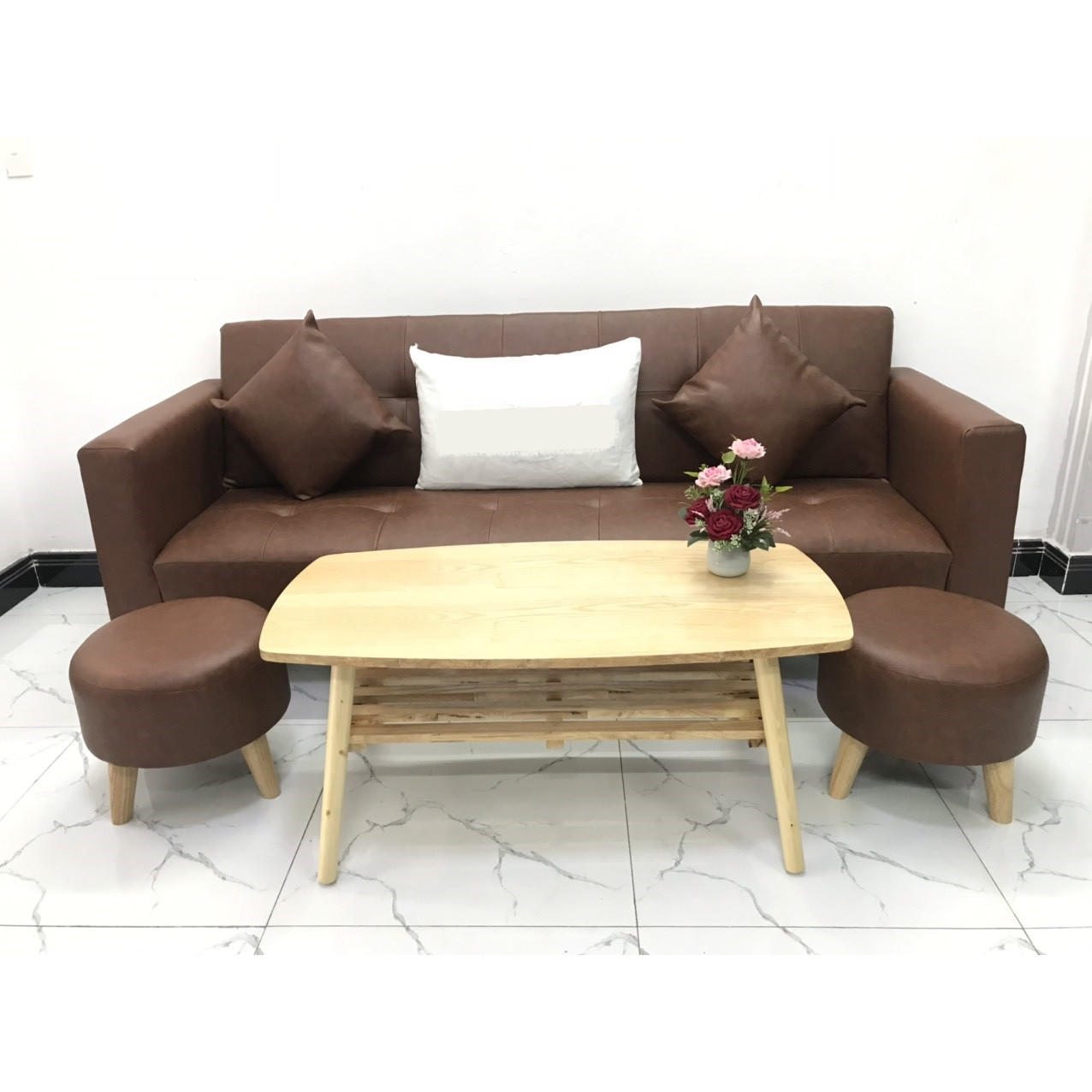 Bộ ghế sofa giường 2mx90 sofa bed tay vịn phòng khách linco8 sopha