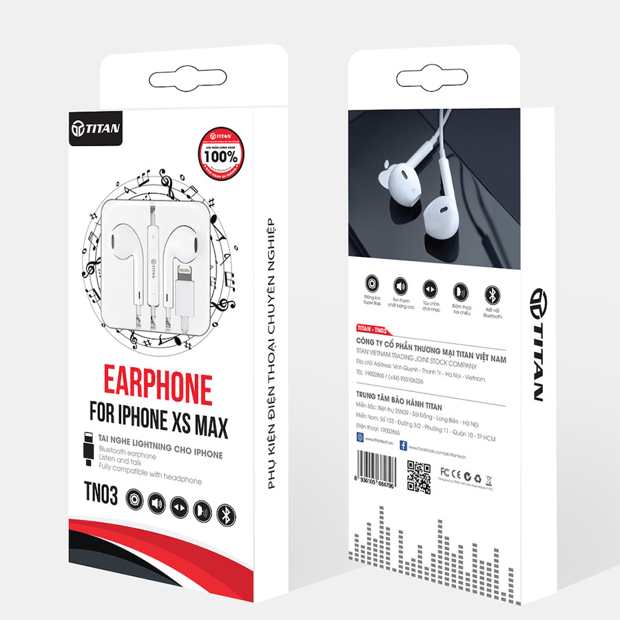 Tai nghe EarPod Lightning Titan TN03 - Hàng chính hãng
