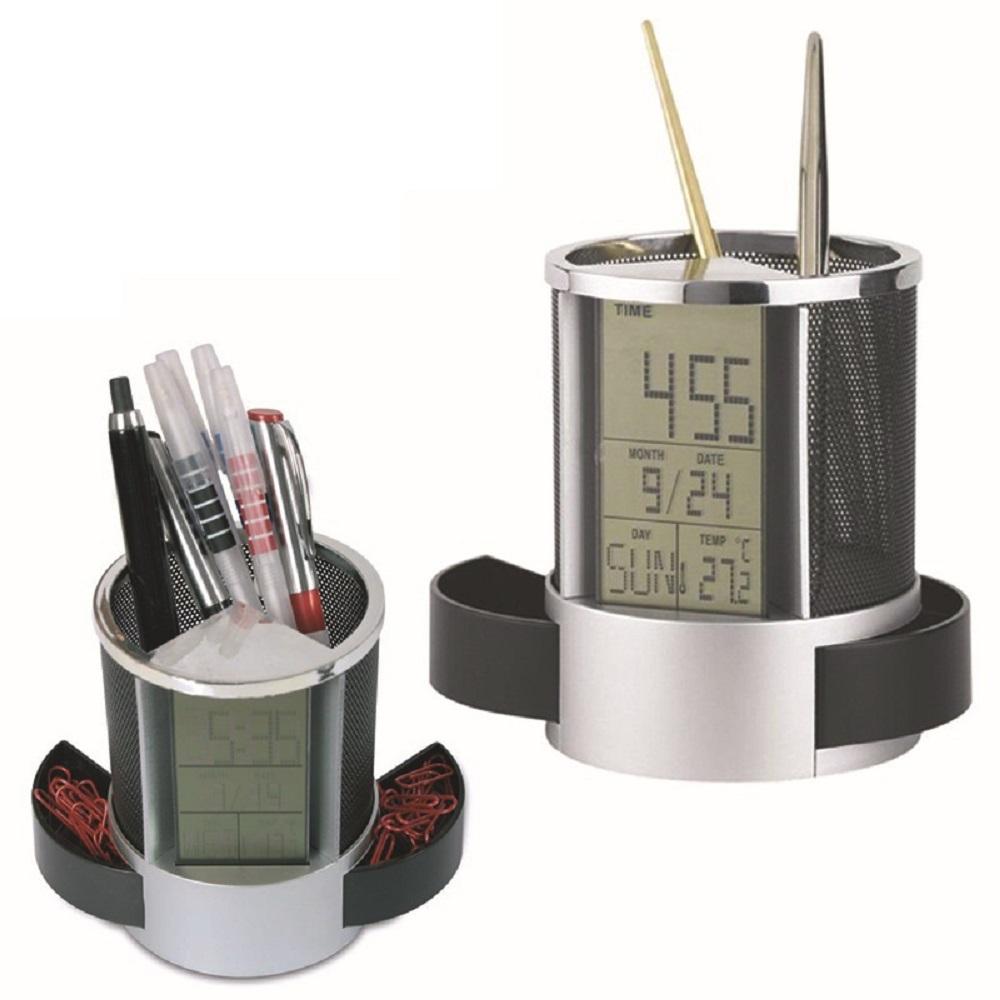 Hộp đựng bút tiện dụng có hai ngăn nhỏ linh hoạt kéo ra vào kết hợp đồng hồ xem giờ + ngày tháng năm, nhắc nhở lịch hẹn sinh nhật,... và đo nhiệt độ phòng
