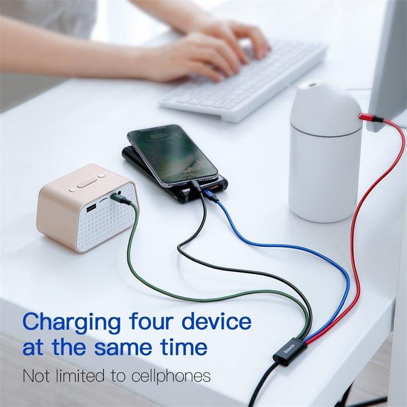 Dây cáp sạc đa năng Baseus Rapid 4 in 1 Type-C, 2 Lighning,  Micro USB, cho iPhone/ iPad, Smartphone & Tablet Android (3.5A, 1.2M, Fast charge 4 in 1 Cable) - Hàng chính hãng
