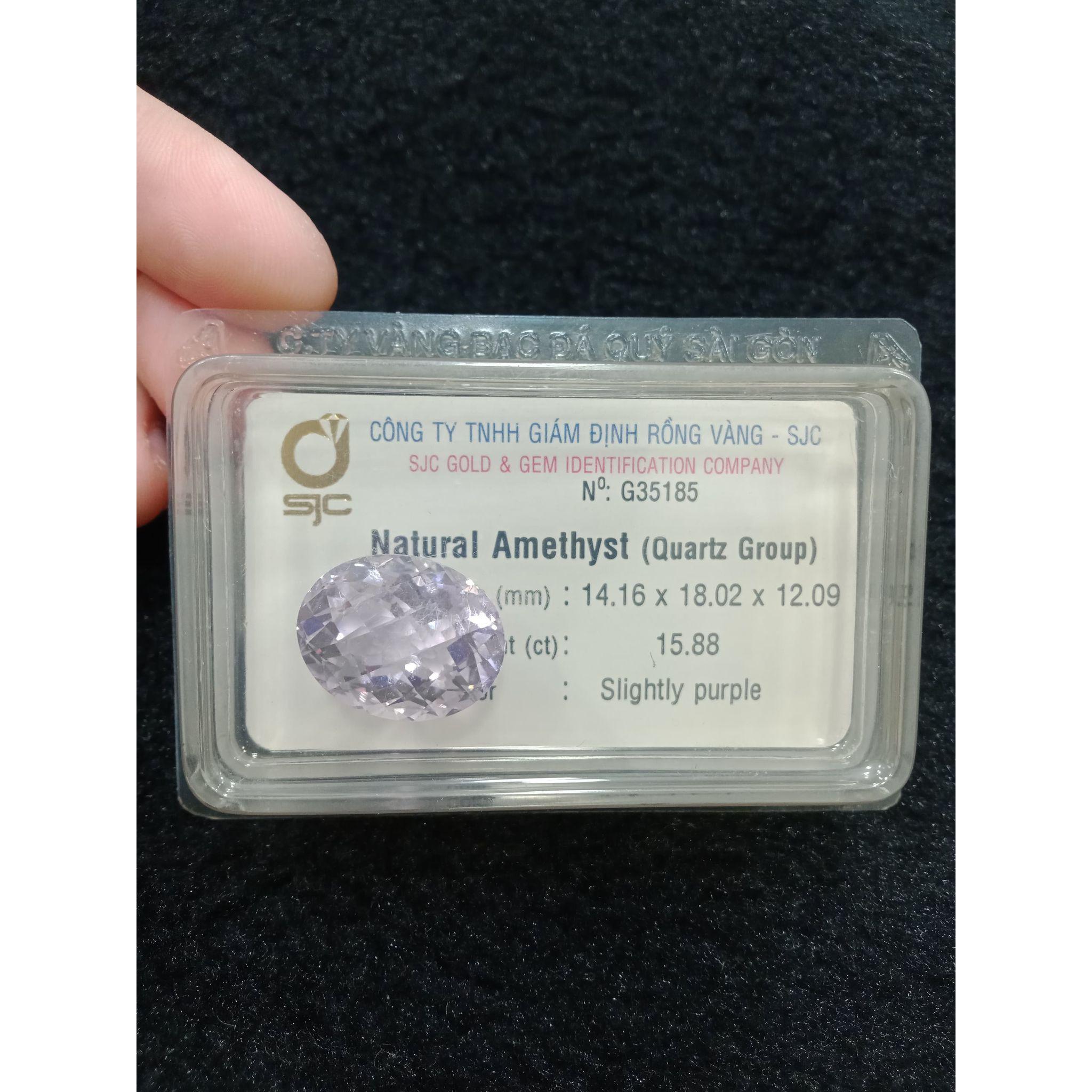 Viên thạch anh tím amethyst oval giác lưới 15.88ct 35185