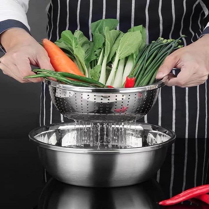 Bộ thau rổ inox nhà bếp 5 món bằng inox đủ size từ 18 - 26 cm tiện dụng