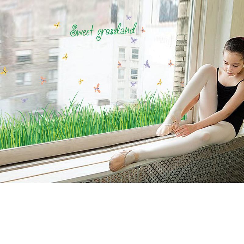 Decal dán chân tường cỏ voi xanh cho bé SK7090