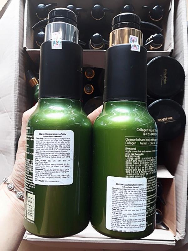Bộ dầu gội/xả Sophia Platium Collagen Repair phục hồi tóc hư tổn Hàn Quốc (2x500ml) tặng kèm móc khoá
