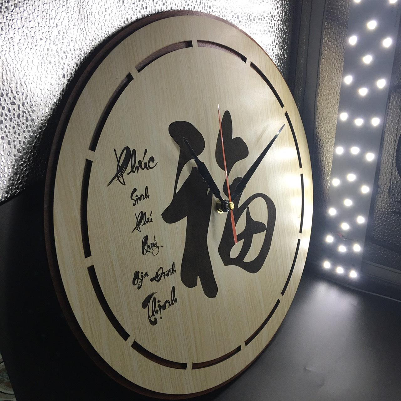 Đồng hồ treo tường chữ Phúc tiếng hoa trang trí
