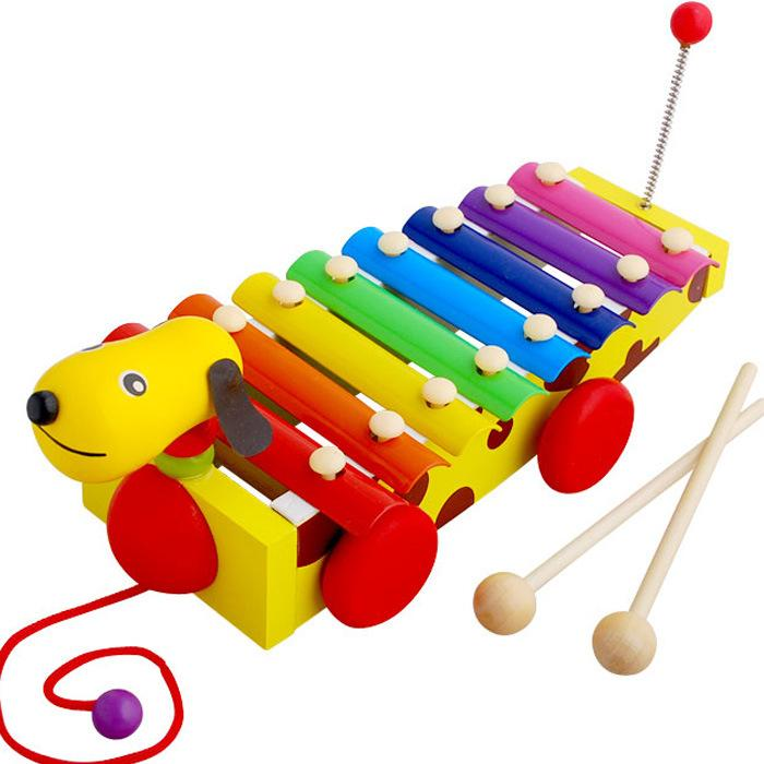 Đàn gỗ kết hợp xe kéo hình chó đốm