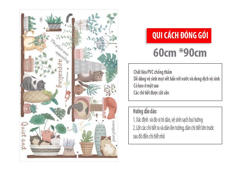 Sticker Giấy Dán Tường Decal Dán tường Mẫu Hoa Lá Cực Xinh ZH0032
