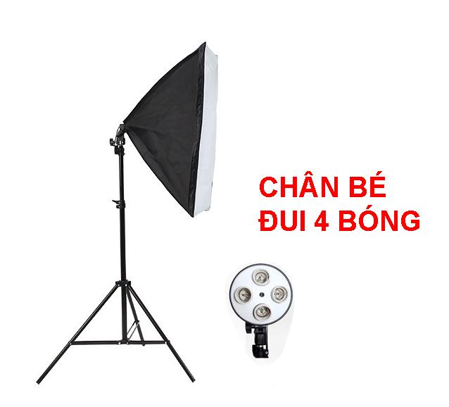 Bộ Đèn Studio, Đèn Chụp Ảnh Sản Phẩm Chân Đèn 2m Kèm Softbox 50x70 Hỗ Trợ Sáng, Đui 4 Bóng