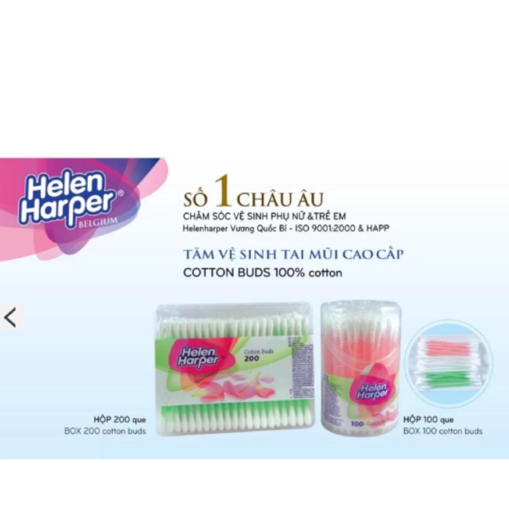 BÔNG NGOÁY TAI HELEN HARPER 100 que (hộp tròn) - nhập khẩu từ Bỉ
