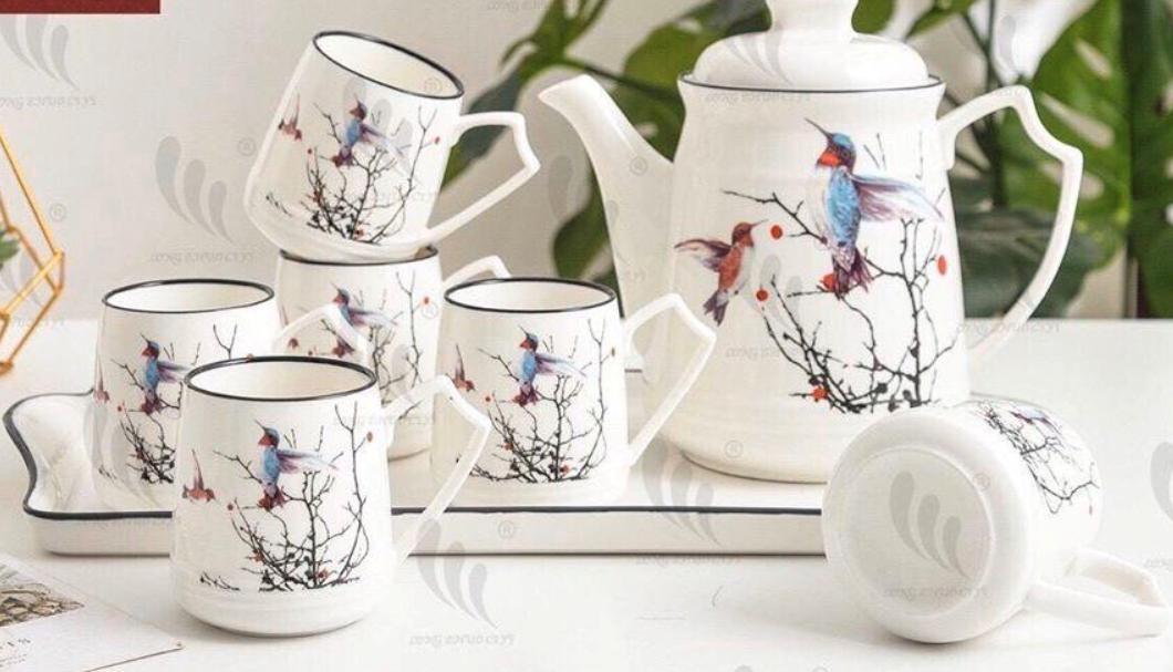 Bộ ấm chén kèm khay pha trà cà phê sứ trắng họa tiết chim đậu cành cây  - ANTH12