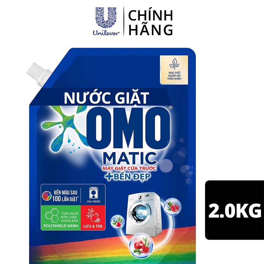 Hình ảnh Nước giặt OMO Matic chuyên dụng Cửa Trước Bền Màu với tinh chất Lựu Tre 2.0kg