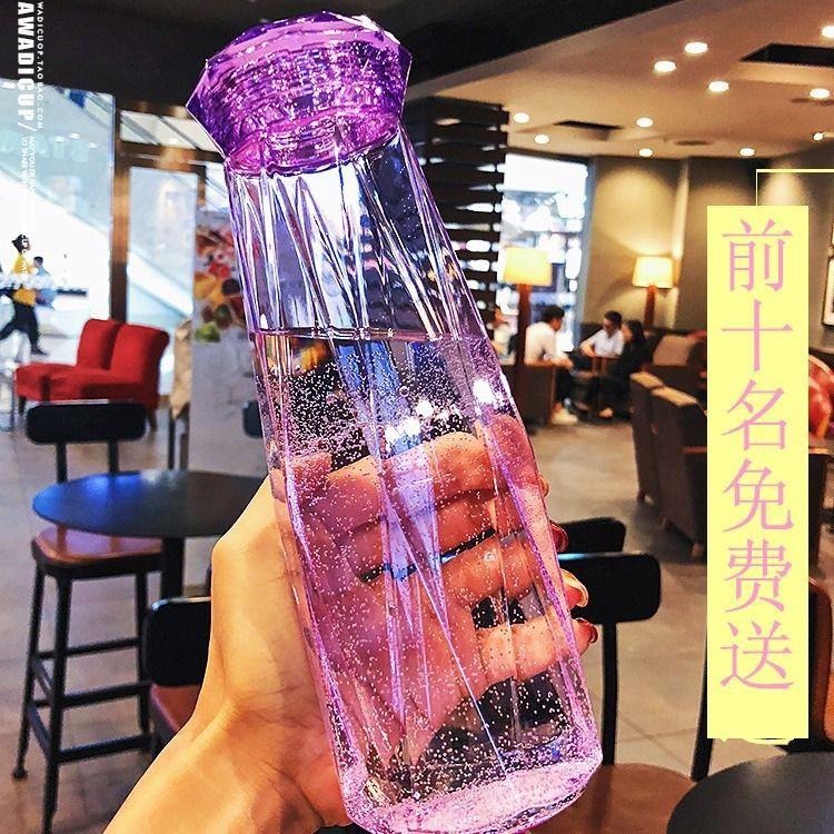 Chai thủy tinh đựng nước dung tích 500ml chịu nhiệt tốt, bình thủy tinh kim cương góc cạnh cao cấp nhiều màu độc đáo - giao màu ngẫu nhiên