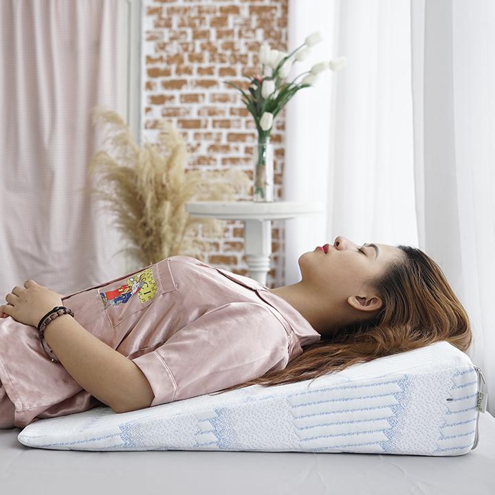 Gối chống trào ngược dạ dày người lớn Hi-Sleep kích thước 70x60x14cm dành cho người trào ngược dạ dày, viêm xoang, nghẹt mũi, ho đêm, copd, ngáy, ngưng thở khi ngủ