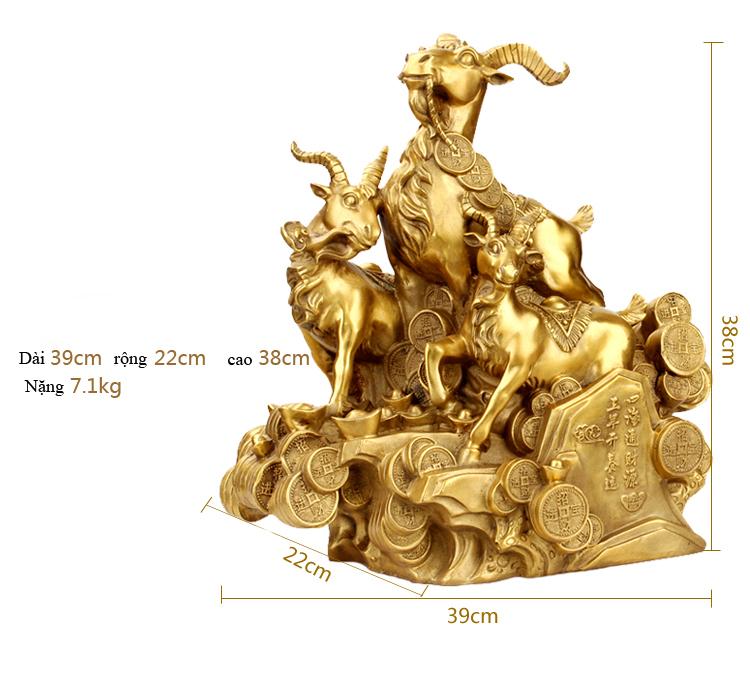 Tượng linh vật phong thủy tam dương 3 con dê bằng đồng dê tam thế Tam dương Khai Thái
