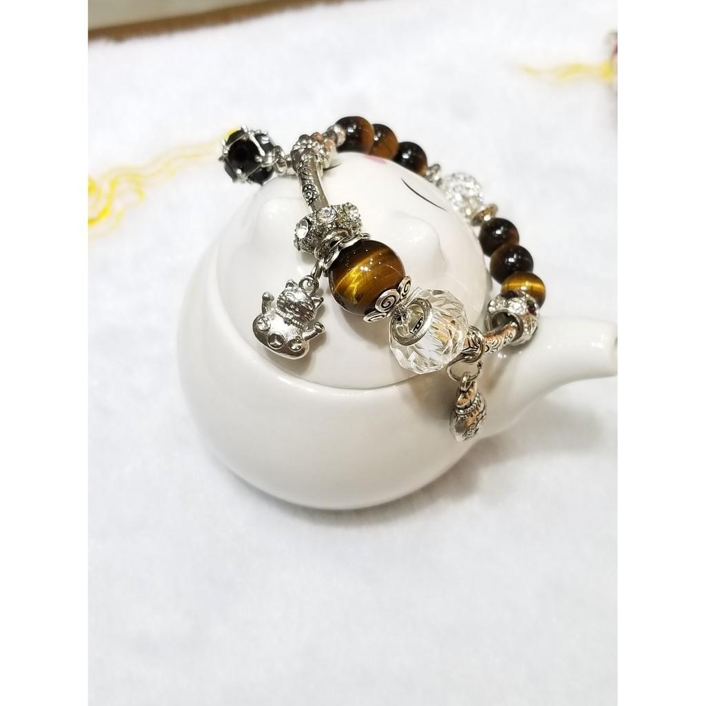 Vòng tay nâu vàng ống dài thiết kế mix charm hợp kim - 250k