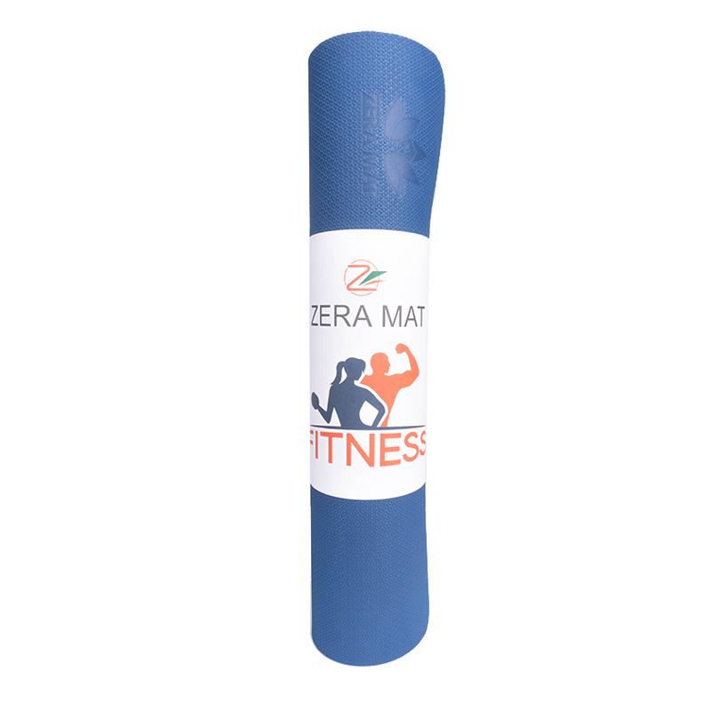 Thảm tập yoga Fitness Zera TPE 1 lớp 8mm - Xanh coban