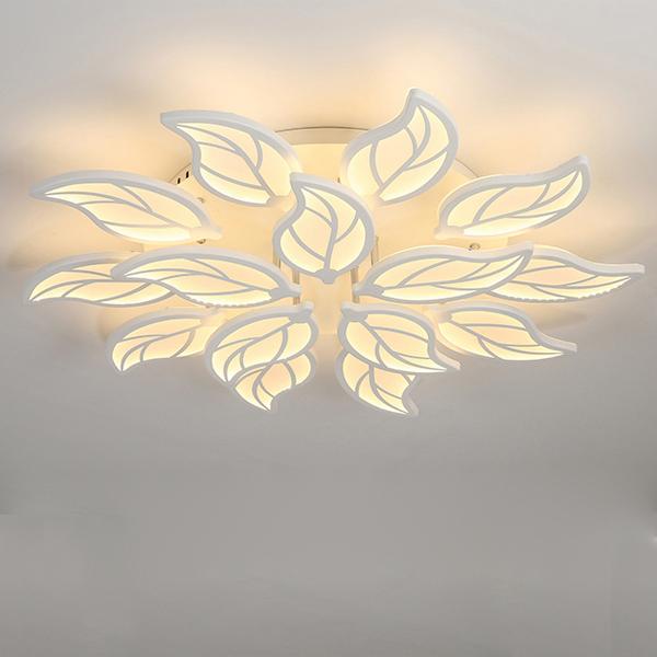Đèn ốp trần LED mâm lá cây độc đáo ba màu ánh sáng có điều khiển từ xa Tree